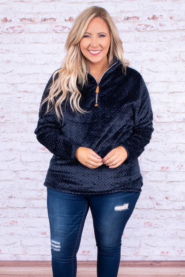 pullover, quarter zip, long sleeve, fuzzy, navy, comfy, short, outerwear, fall, winter