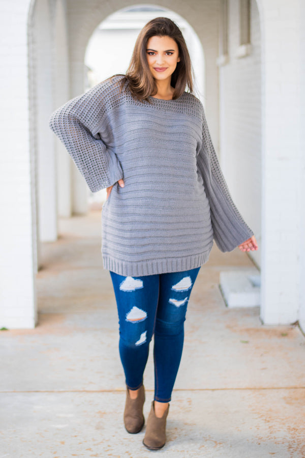 sweater, long sleeve, long, wide neck, bell sleeves, charcoal, comfy, fall, winter