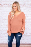 sweater, long sleeve, vneck, crisscross back, longer back, pink, comfy, fall, winter