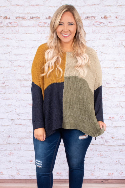 sweater, long sleeve, flowy, mustard, tan, navy, olive, colorblock, comfy, fall, winter