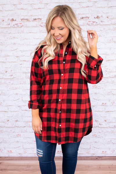 shirt, long sleeve, long, button down, collared, curved hem, black, white, plaid, comfy, fall, winter