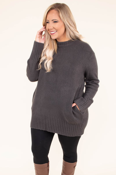 dress, sweater, long sleeve, form fitting, pockets, gray, comfy, fall, winter