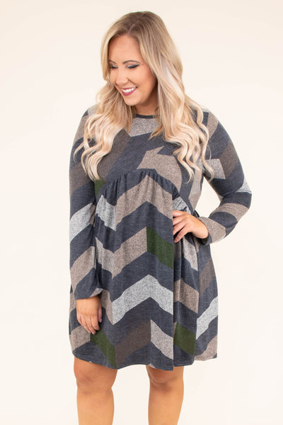 dress, short, long sleeve, babydoll, olive, gray, brown, chevron, flowy, comfy, fall, winter