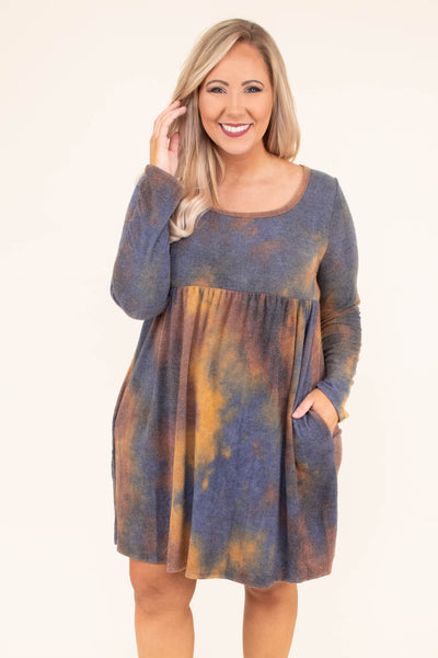 dress, short, long sleeve, scoop neck, pockets, babydoll, flowy, camel, navy, red, tie dye, comfy, fall, winter
