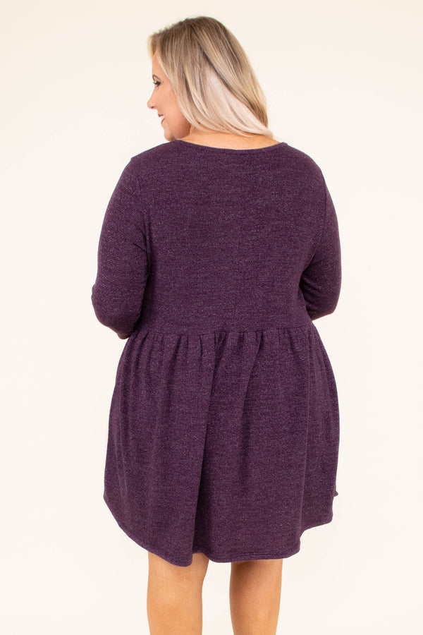 dress, short, three quarter sleeve, curved hem, babydoll, eggplant, flowy, comfy