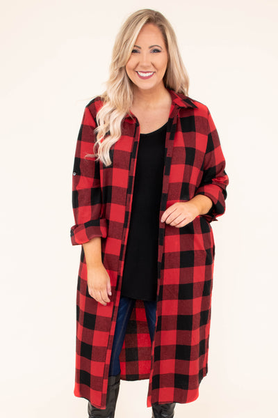 dress, short, long sleeve, button down, collared, red, black, plaid, comfy, fall, winter