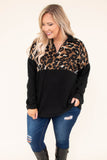 pullover, long sleeve, quarter zip, collared, black, brown, leopard, colorblock, comfy, curved hem, fall, winter