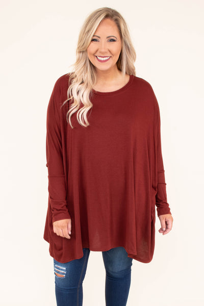 tunic, long sleeve, long, flowy, brick, comfy, fall, winter