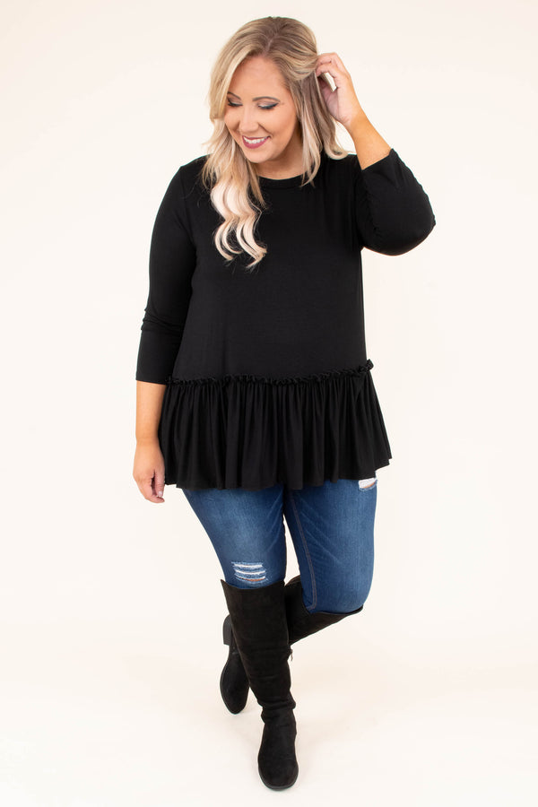 shirt, three quarter sleeve, ruffle waist, flowy, black, comfy