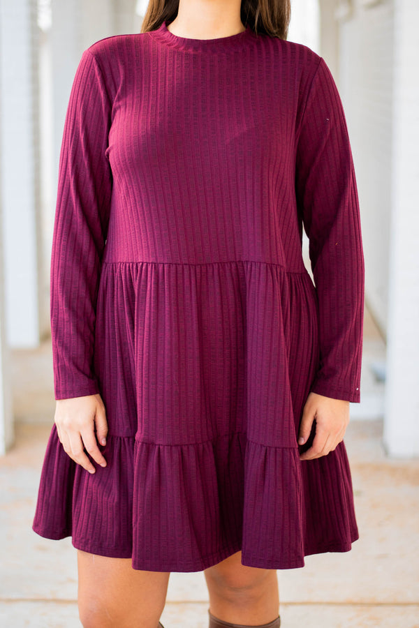 dress, short, long sleeve, babydoll, ribbed, flowy, comfy, wine, fall, winter