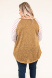 shirt, long sleeve, curved hem, long, camel, heathered, striped sleeves, white, flowy, comfy, fall, winter