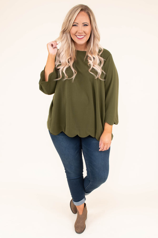 top, three quarter sleeve, olive, scallop hem, flowy, wrap back detail, comfy