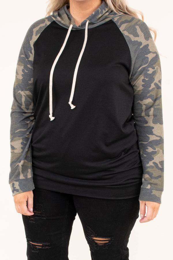 hoodie, long sleeve, elbow patches, hood, drawstrings, fitted, black, camo sleeve, camo hood, green, comfy, outerwear, fall, winter