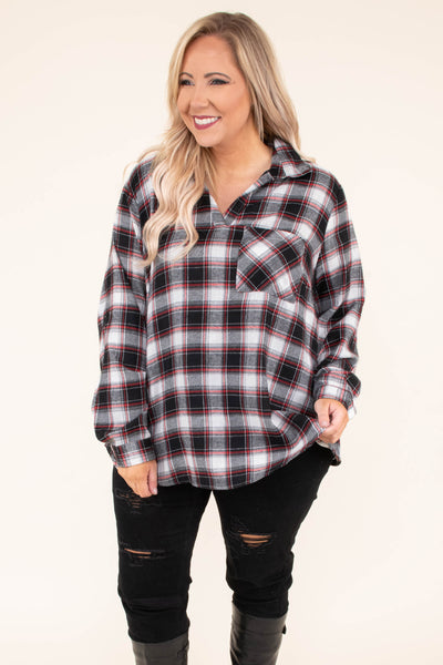 shirt, long sleeve, vneck, collared, chest pocket, curved hem, black, white, red, plaid, comfy, fall, winter
