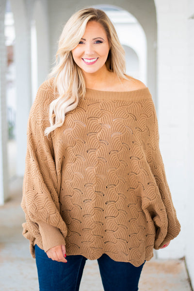top, sweater, mocha, long sleeve, knit, off the shoulder, flowy, comfy, fall, winter