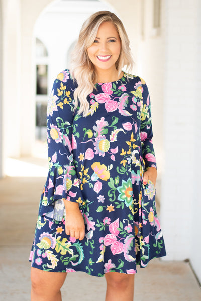 dress, three quarter sleeve, navy, pink, yellow, green, floral, flowy, ruffle sleeve, comfy