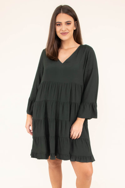 dress, short, three quarter sleeve, vneck, bell sleeves, ruffles, flowy, green, comfy, fall, winter