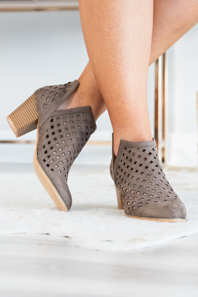 booties, taupe, cut out design, medium heel