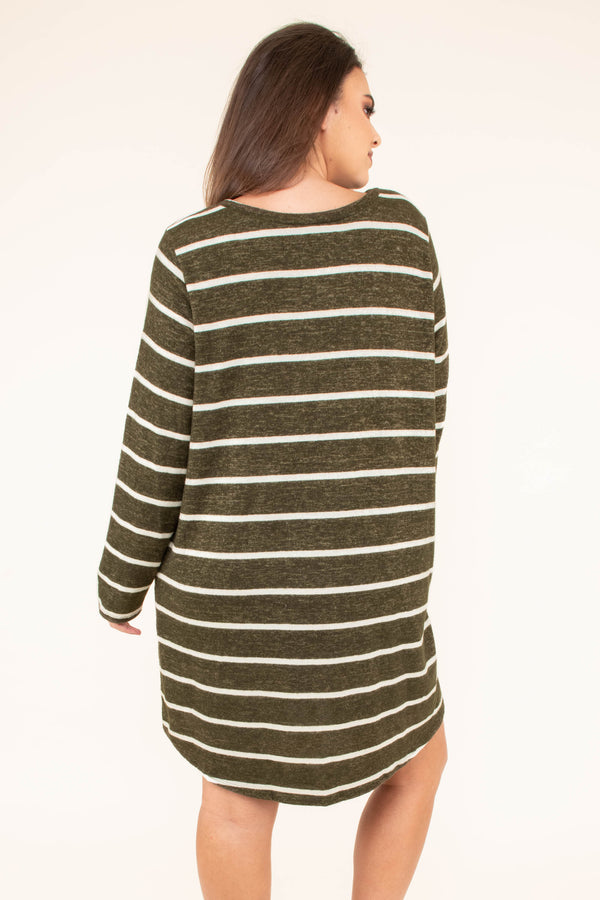 dress, short, long sleeve, pockets, flowy, olive, heathered, white, striped, comfy, fall, winter
