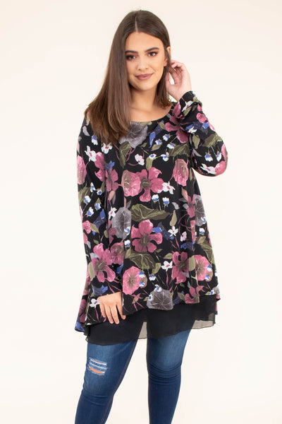 shirt, long sleeve, long, sheer hem, flowy, black, floral, pink, green, blue, white, gray, comfy, fall, winter