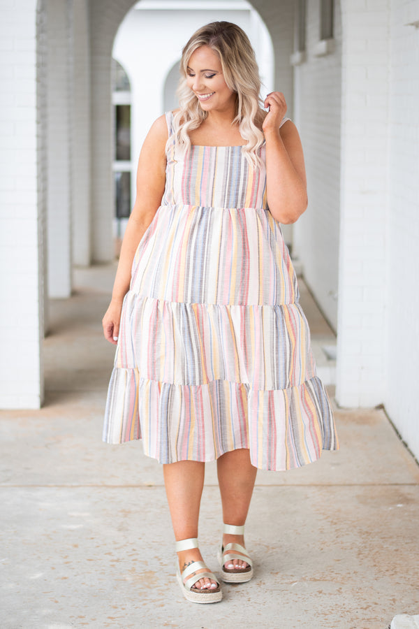 dress, tank top, midi length, multi stripe, pockets, tiered, summer