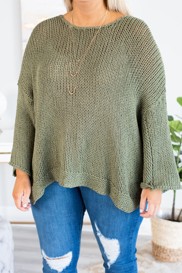 sweater, long sleeve, bell sleeve, olive, solid, flowy, comfy, fall, winter