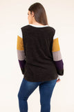 sweater, long sleeve, loose, comfy, white, mustard, tan, purple, black, colorblock, fall, winter
