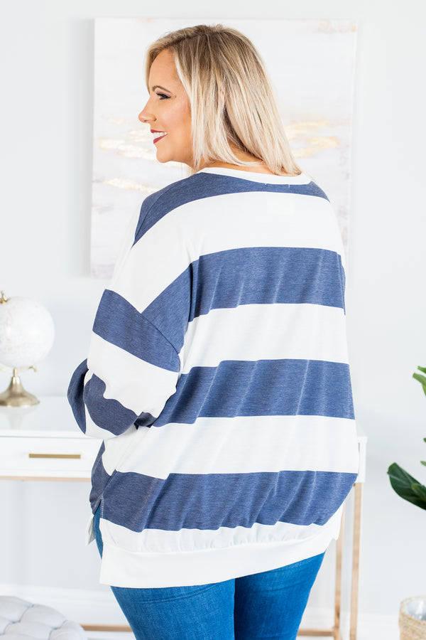 shirt, long sleeve, navy, white, striped, comfy, fall, winter