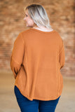 shirt, long sleeve, bubble sleeve, curved hem, short, waffle knit, camel, comfy, fall, winter