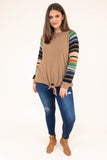 shirt, long sleeve, short, tie front, taupe, striped sleeves, mustard, green, navy, black, comfy, fall, winter