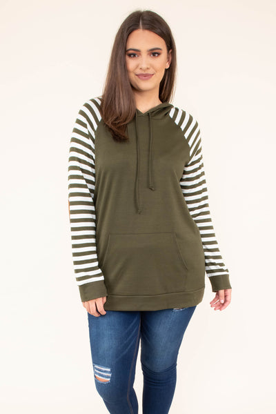hoodie, long sleeve, hood, drawstrings, front pocket, fitted, short, olive, striped sleeves, white, comfy, elbow patches, outerwear