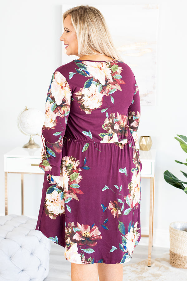 dress, short, three quarter sleeve, ruffle sleeves, fitted top, flowy skirt, pockets, burgundy, floral, white, green, red, comfy