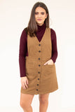 jumper, short, sleeveless, vneck, button down, corduroy, pockets, brown, comfy, fall, winter
