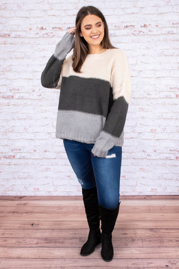 sweater, long sleeve, short, flowy, taupe, charcoal, gray, colorblock, comfy, fall, winter