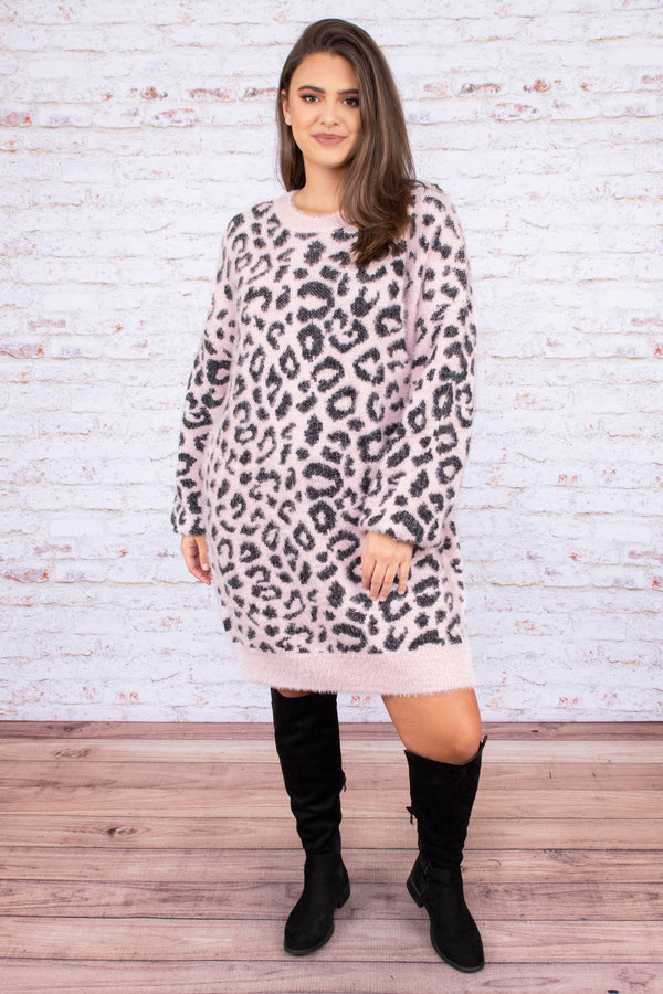 dress, short, long sleeve, sweater, fuzzy, blush, black, leopard, comfy, loose, fall, winter