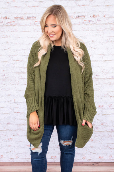 cardigan, long sleeve, long, pockets, flowy, loose, comfy, olive, knitted, outerwear, fall, winter