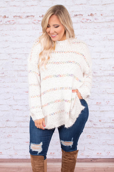 sweater, long sleeve, high neck, long, flowy, white, striped, pastels, comfy, fuzzy, fall, winter