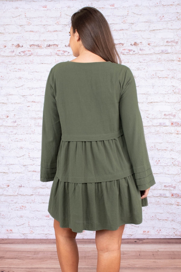 dress, short, long sleeve, vneck, bell sleeves, tiered skirt, flowy, olive, comfy, fall, winter