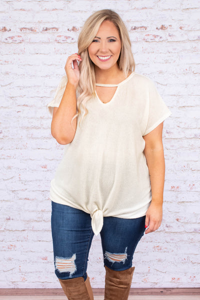 shirt, short sleeve, tie front, cutout neckline, loose, longer back, white, comfy