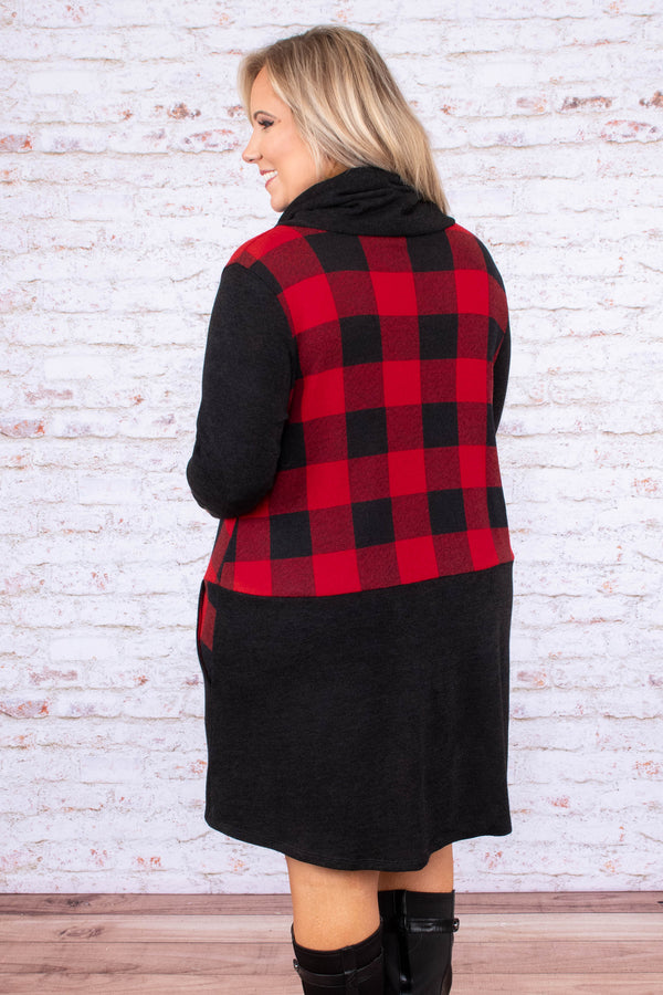 dress, short, long sleeve, cowl neck, drawstring neck, pockets, black, red, plaid, colorblock, flowy, comfy, fall, winter