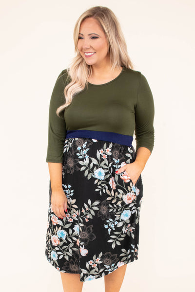 dress, midi, three quarter sleeve, pockets, fitted top, loose skirt, green top, floral skirt, black, gray, blue, pink, comfy