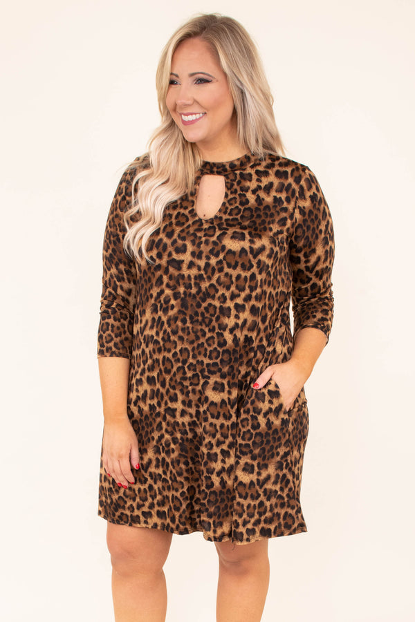 dress, short, three quarter sleeve, pockets, keyhole neckline, brown, leopard, flowy, comfy, fall, winter