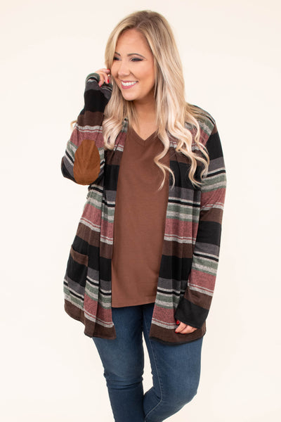 cardigan, long sleeve, elbow patches, long, fitted sleeves, flowy, brown, pink, gray, black, striped, comfy, outerwear, fall, winter