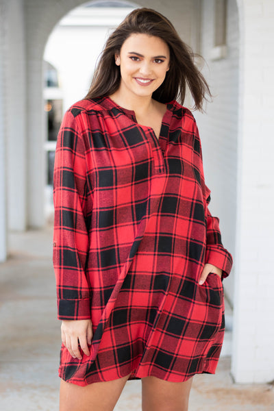 dress, short, long sleeve, vneck, pockets, flowy, red, black, plaid, comfy, fall, winter