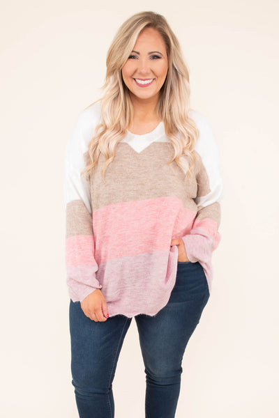 sweater, long sleeve, bubble sleeve, curved hem, flowy, white, mocha, pink, mauve, colorblock, comfy, fall, winter
