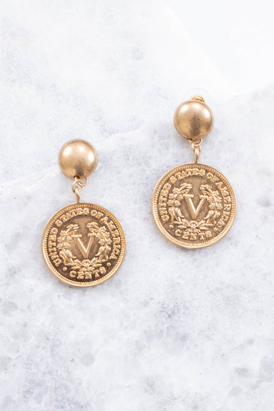 Penny Talk Earrings, Gold