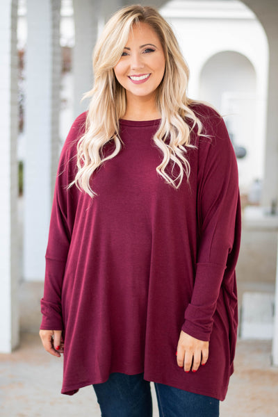 tunic, long sleeve, asymmetrical hem, high neck, flowy, fitted sleeves, burgundy, comfy