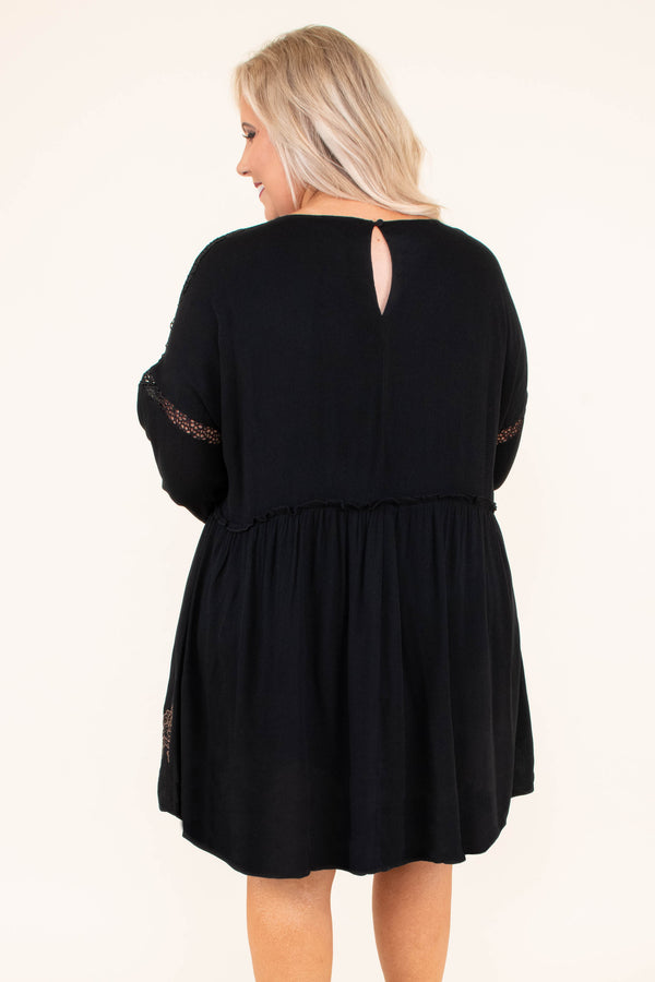 dress, short, long sleeve, vneck, bubble sleeves, black, embroidery, flowers, brown, babydoll, flowy, comfy, fall, winter