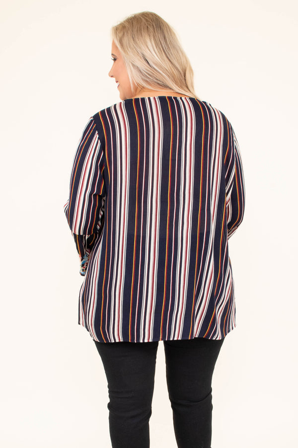 tunic, long sleeve, bell sleeves, vneck, flowy, navy, white, orange, stripes, embroidery, red, blue, comfy