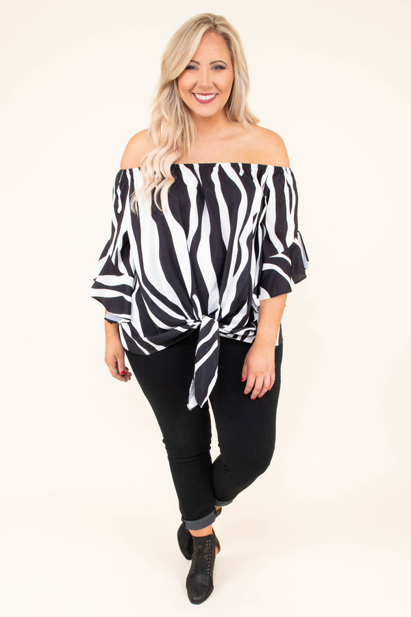 blouse, three quarter sleeve, off the shoulder, ruffle sleeves, tie front, loose, fitted bottom, black, white, zebra, comfy